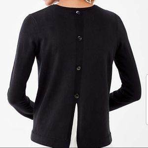 J. Jill Mixed Media Black Back Button Shirt S